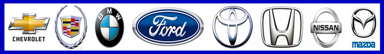 car logos chevy cadillac, ford, honda, nissan, mazda jeep repair